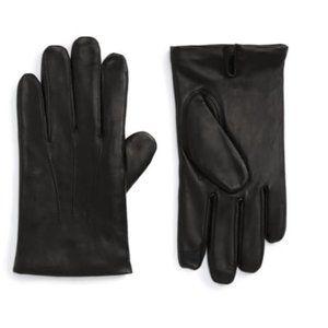 Nordstrom Touchscreen Men's Black Leather Gloves